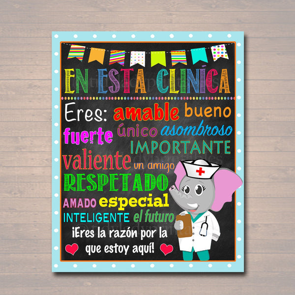 Spanish School Nurse Decor, Pediatric Nurse Decor, Nursing Sign INSTANT DOWNLOAD, Nurse Wall Art, Doctor Office Decor, In this Clinic Poster