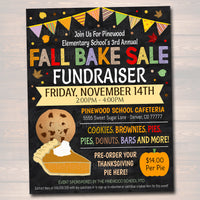 EDITABLE Fall Bake Sale Flyer, Festival Fall Harvest Flyer/Poster Printable Halloween Invitation, Fall Carnival, Church School Fundraiser