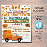 EDITABLE Fall Festival Fall Harvest Flyer/Poster Printable Halloween Invitation, Community Church School Halloween Event, Fall Craft Market