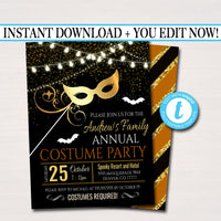 EDITABLE Halloween Masquerade Costume Party Invitation, Printable Adult Cocktail Halloween Party Invite, Halloween Masks, INSTANT DOWNLOAD