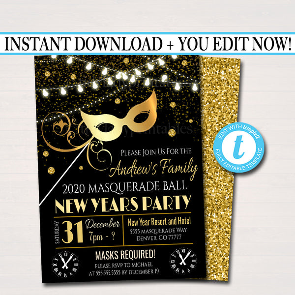 New Years Masquerade Party Invitation, Printable Adult Cocktail New Year Holiday Party Invite, Gold Black Masks,