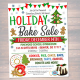 EDITABLE Holiday Bake Sale Flyer, Printable PTA PTO, School Family Fundraiser Event, Christmas Bakery, Church Printable Digital Invitation