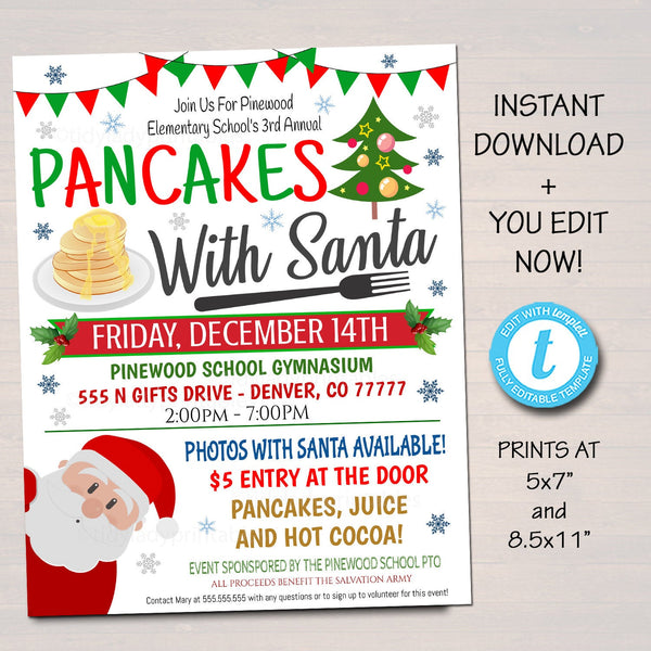 EDITABLE Pancakes with Santa Flyer, Breakfast with Santa Invitation Kids Christmas Party Printable Community Holiday School Fundraiser Flyer