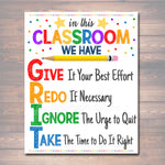 GRIT Acronym Poster, Growth Mindset, INSTANT DOWNLOAD, Printable Motivational Wall Art, School Office, Classroom Decor, Teacher Chalkboard