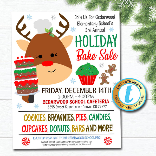 Holiday Bake Sale Flyer Christmas Bakery Invitation, School Church Pto Pta Fundraiser Shopping Xmas Event Editable Template DIY Self-Editing