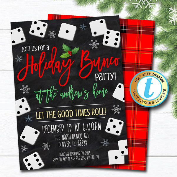 Christmas Bunco Party Invitation, Adult Holiday Invite, Xmas Cocktail Games Party, Winter Party Editable Template, DIY Self-Editing Download