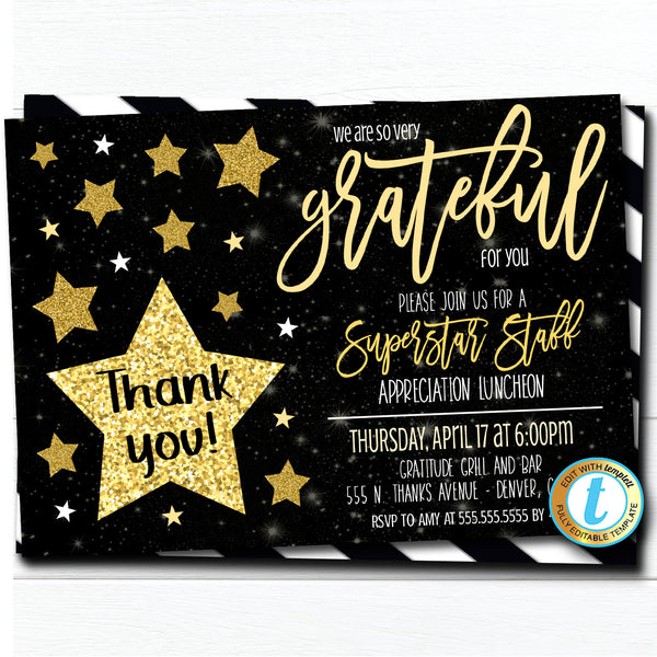 Editable Appreciation Invitation, Grateful For You Teacher Superstar Staff Invitation Customer Client Thank You, INSTANT DOWNLOAD Template
