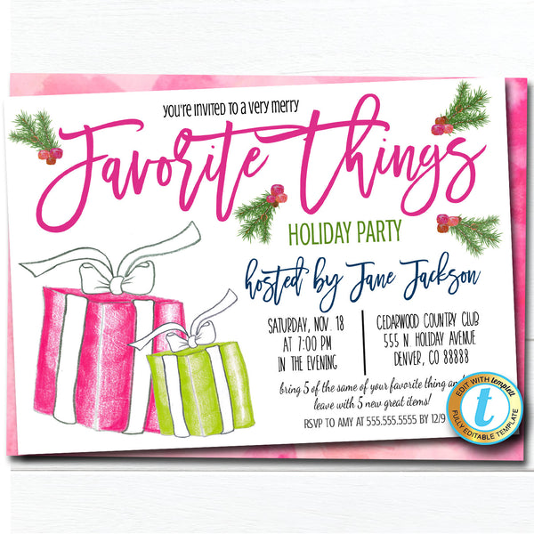 Favorite Things Christmas Party Invitation, Christmas Preppy Invite, Watercolor Gift Exchange Girls Holiday Party Editable Template Download