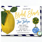 Lemon Bridal Shower Invitation, Chinoiserie Chic, Mediterranean Wedding Blue Ginger Jar Southern Elegance Watercolor, DIY Editable Template