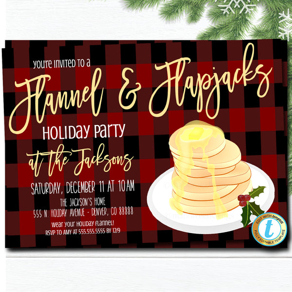Flannel and Flapjacks Party Invitation, Christmas Party Plaid Invitation, Pancakes and Pajamas, Editable Template, DIY Self-Editing Download