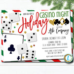 Christmas Casino Party Invitation, Adult Holiday Invite, Xmas Cocktail Games Party, Work Party Editable Template, DIY Self-Editing Download