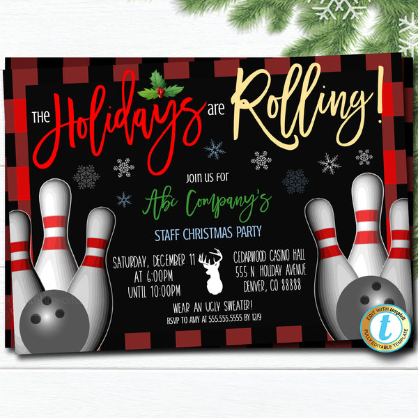Christmas Bowling Party Invitation, Adult Holiday Invite, Xmas Cocktail Games Party, Work Party Editable Template, DIY Self-Editing Download