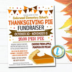 Thanksgiving Pie Fundraiser Flyer, Fall Pumpkin Pie Invitation, School Pto Pta Church, Fall Product Sales, DIY INSTANT DOWNLOAD Template