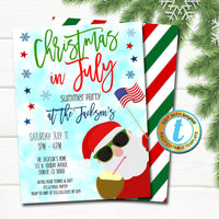 Christmas in July Invitation, Holiday Beach Santa Summer Party, Tropical Christmas in July Pool Luau Beach Invite Editable Template Download