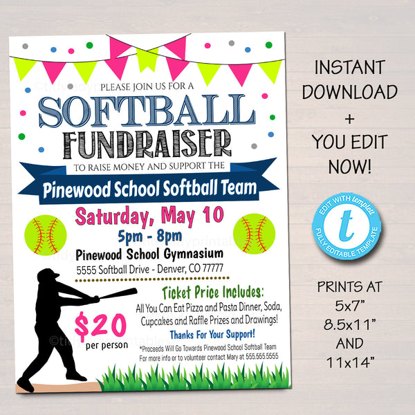 EDITABLE Softball Fundraiser Flyer, Printable PTA PTO Flyer, School Benefit Fundraiser Event Poster Digital Party, Little League Invitation
