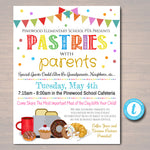 EDITABLE Pastries With Parents, Printable PTA Flyer, School Breakfast Parent Appreciation Fundraiser Open House Printable Digital Invitation
