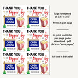 Realtor Popcorn Tags, Open House Real Estate Thank You Gift Tags Marketing Tool Thanks for Popping By Editable Template DIY Digital Download