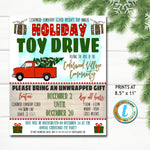 Holiday Toy Drive Flyer, Christmas School Church Pto Pta, Holiday Nonprofit Charity Kids, Editable Template, Xmas Shopping, DIY Self-Editing