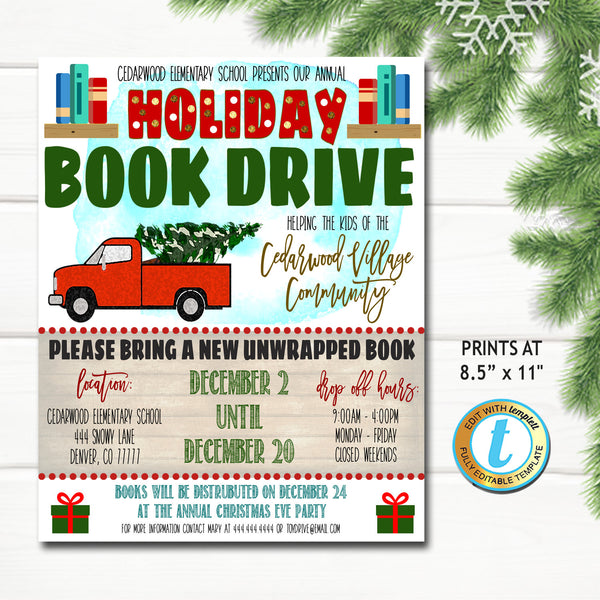 Holiday Book Drive Flyer, Christmas School Church Pto Pta, Holiday Nonprofit Charity Kids, Editable Template, Xmas Shopping DIY Self-Editing