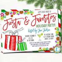 Favorite Things Christmas Party Invitation, Christmas Fiesta Invite, Holiday Gift Exchange Girls Teacher Party, Editable Template Download
