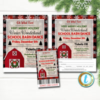 Winter Dance Flyer Set, Christmas School Dance, Church Pto Pta, Holiday Kids Barn Dance Party Ticket, Fundraiser DIY Self-Editing Template