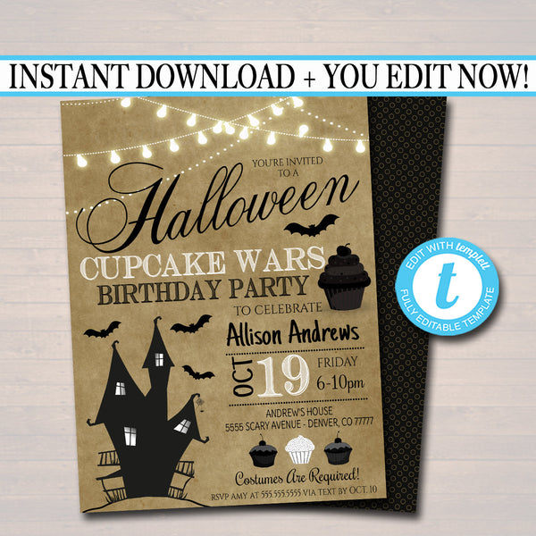 Halloween Cupcake Wars Themed Party Birthday Invitation, Candy Sweet Invite, Cupcake Decorating Party, Editable Template, INSTANT DOWNLOAD