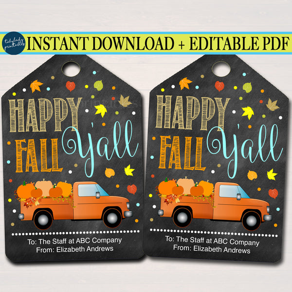 Fall Gift Tags, Happy Fall Y'all, Customer Appreciation, Holiday Fall Staff Teacher Volunteer Gift, Printable INSTANT DOWNLOAD Editable Pdf
