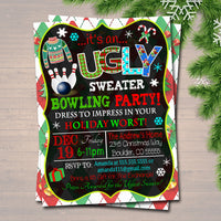 Holiday Bowling Party Invitation, Christmas Ugly Sweater Party Invitation, DIY Digital Invite, Xmas Company Party Invite, EDITABLE TEMPLATE