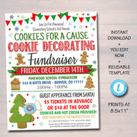 Christmas Cookie Decorating Fundraiser Flyer, Printable Holiday Invitation Community, Xmas Event Church School Pto Pta Fundraiser Invite