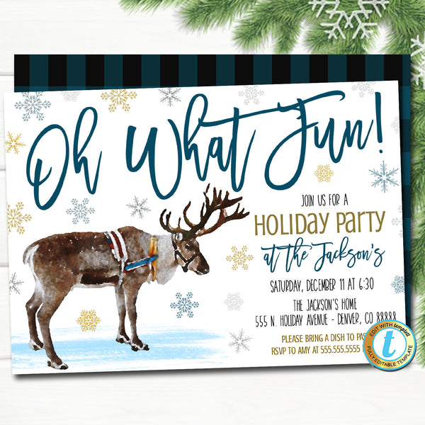 Christmas Party Invitation Oh What Fun Blue Buffalo Plaid Rustic Farmhouse Invite Holiday Housewarming Watercolor Reindeer Editable Template
