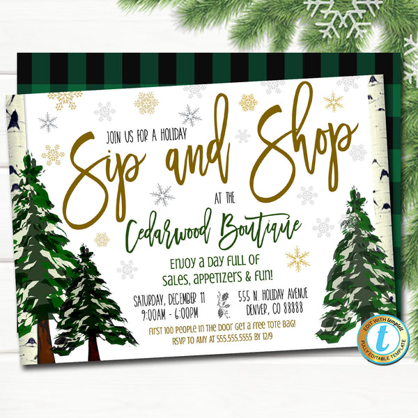 Holiday Open House Invitation, Christmas Boutique Shopping Event School, Church Small Business Editable Template, DIY Self-Editing Download