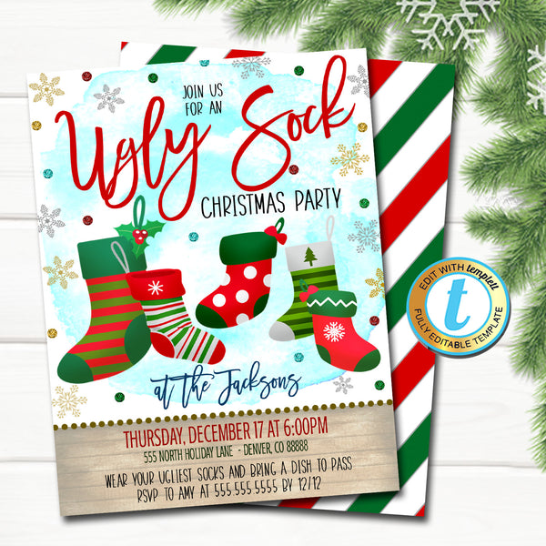 Ugly Sock Christmas Party Invitation, Modern Xmas Rustic Farmhouse Invite Holiday Ugly Sweater Adult Cocktail Party DIY Editable Template