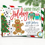 Christmas Game Night Party Invitation, Holiday Invite, Xmas Cocktail Games Party, Family Work Editable Template, DIY Self-Editing Download