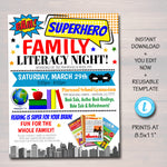 Superhero Family Literacy Night Flyer, Printable PTA PTO Flyer, School Church Fundraiser, Reading Book Sale Event Poster, Editable Template