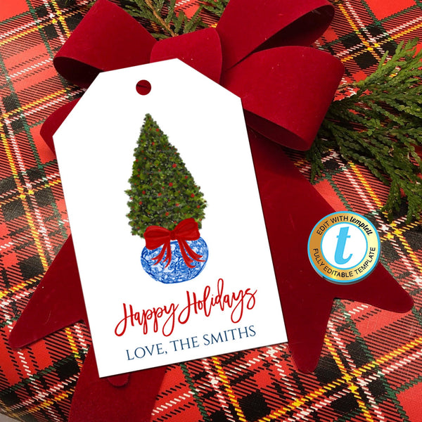 Christmas Ginger Jar Gift Tags, Xmas Tree Topiary Red Ribbon, Preppy Holiday Southern Style Chinoiserie Chic, DIY Editable Template Download