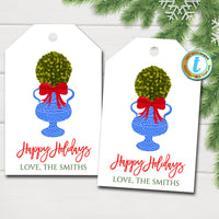Christmas Ginger Jar Gift Tags, Boxwood Topiary Red Ribbon, Preppy Holiday Southern Style, Chinoiserie Chic, DIY Editable Template, Download