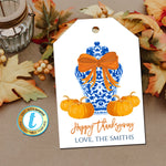 Fall Ginger Jar Gift Tags, Thanksgiving Gift Label Orange Ribbon, Preppy Holiday Southern Style Chinoiserie Chic, Editable Template Download