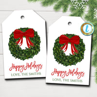 Christmas Boxwood Wreath Gift Tags, Red Ribbon, Farmhouse Preppy Holiday Southern Style, Chinoiserie Chic, DIY Editable Template, Download