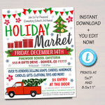 EDITABLE Holiday Market Flyer Christmas Craft Show Invitation, Christmas Party Invitation Printable Community Holiday Event Church School