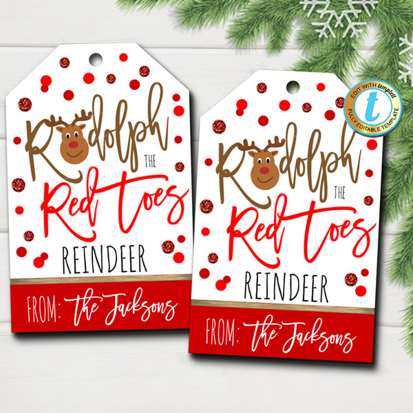 Christmas Gift Tags, Rudolph the Red Toes Reindeer, Teacher Staff Holiday Gift, Secret Santa Nail Polish Stocking Stuffer, Editable Template