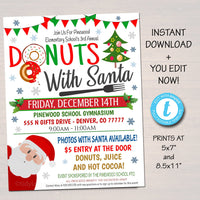 EDITABLE Donuts with Santa Flyer, Breakfast with Santa Invitation Kids Christmas Party Printable, Community Holiday School Fundraiser Flyer