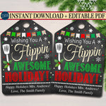 Holiday Gift Tags, Spatula Wish You a Flippin' Awesome Christmas Favor Tags, Teacher, staff Volunteer White Elephant, Xmas Bakery Treat Tag