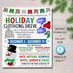 Holiday Clothing Drive Flyer, Printable PTA PTO, Charity Church Fundraiser, Printable Invitation, Christmas Cold Coat Jacket Donations Flyer