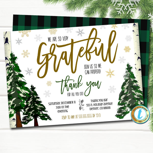 Holiday Appreciation Invitation, Corporate Party Grateful For You Teacher Staff Invite, Customer Client Thank You, INSTANT DOWNLOAD Template