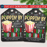 Christmas Popcorn Gift Tags, Secret Santa Office Staff Teacher Gift, Popcorn Tin Holiday Printable, White Elephant INSTANT DOWNLOAD Editable