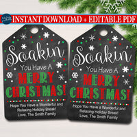 Christmas Gift Tag, Soakin' You Have a Merry Christmas, Holiday Bath Bomb Bubble Bath Gift Tag, Secret Santa, Staff Teacher INSTANT DOWNLOAD