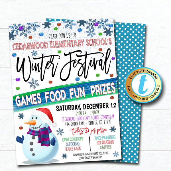 Winter Festival Flyer, Holiday Snowman Invitation, School Church Pto Pta Flyer, Winter Party Editable Template, Christmas DIY Self Editing
