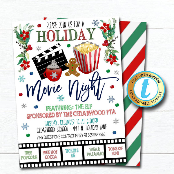 Christmas Movie Night Invitation, Kids Holiday Invite School Church Pto Pta Event, Winter Party Editable Template, DIY Self-Editing Download