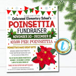Poinsettia Fundraiser Flyer, Christmas School Church Pto Pta, Holiday Plant Flower Sale, Editable Template, Xmas Shopping, DIY Self-Editing