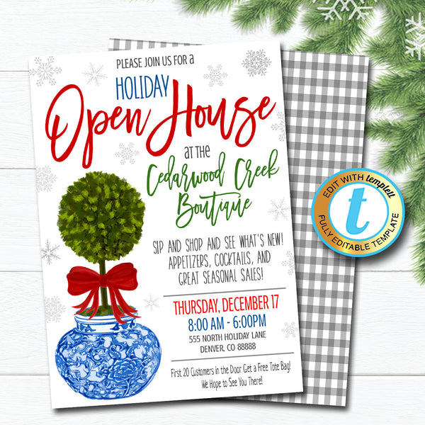 Holiday Open House Invitation, Christmas Boutique Shopping Event Ginger Jar Southern Style Small Business, DIY Editable Template, Download